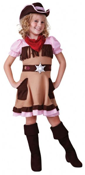 Girls Cowgirl Cutie Costume American Wild West Cowboys & Indians Fancy Dress